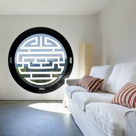 stickers vitre occultant pose vraiment simple sp cial fen tre ronde. Black Bedroom Furniture Sets. Home Design Ideas