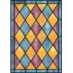 Film vitrail pour vitre, jacquard rose et bleu