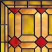 Faux vitrail sur verre, carrés rouges