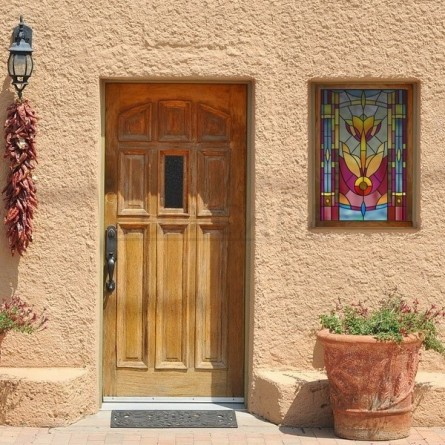 Vitrail art deco, motif rose et rouge