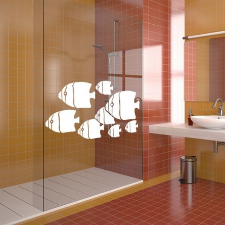 stickers sur mesure des poissons plats pour la douche. Black Bedroom Furniture Sets. Home Design Ideas