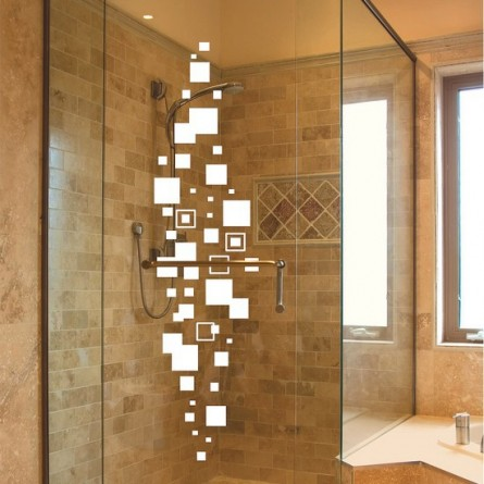 Sticker salle de bain, les carrés