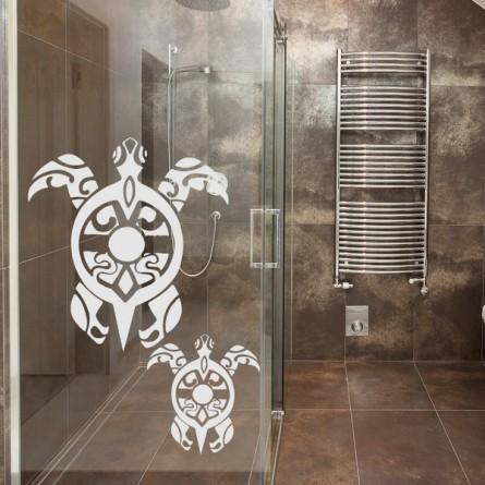 Déco vitre salle de bain, tortue