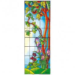 Sticker vitrail, vigne et iris