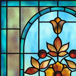 Imitation vitrail, fleur orange