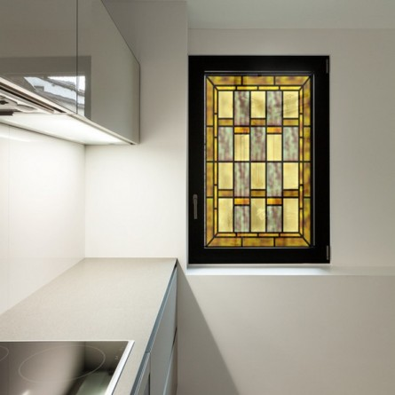 Décoration vitrail, motif jaune et gris