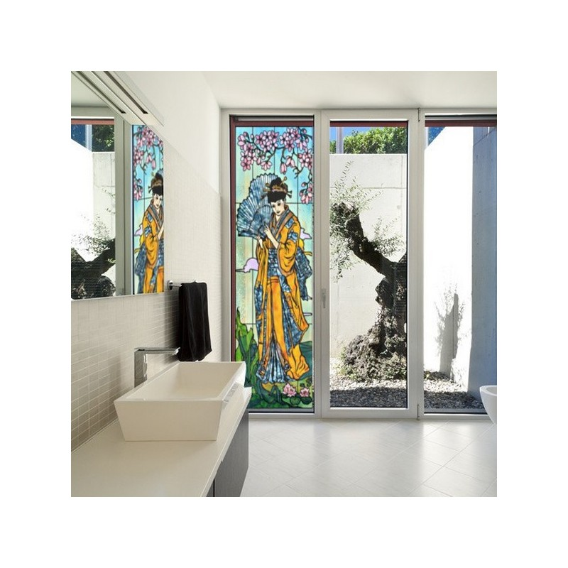 Fenetre vitrail, geisha
