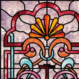 Stickers vitraux fenetres, motif rose orange