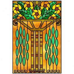 Adhesif vitrail, colonne fleurie