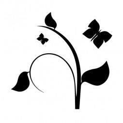 Déco adhésive, plante et papillons