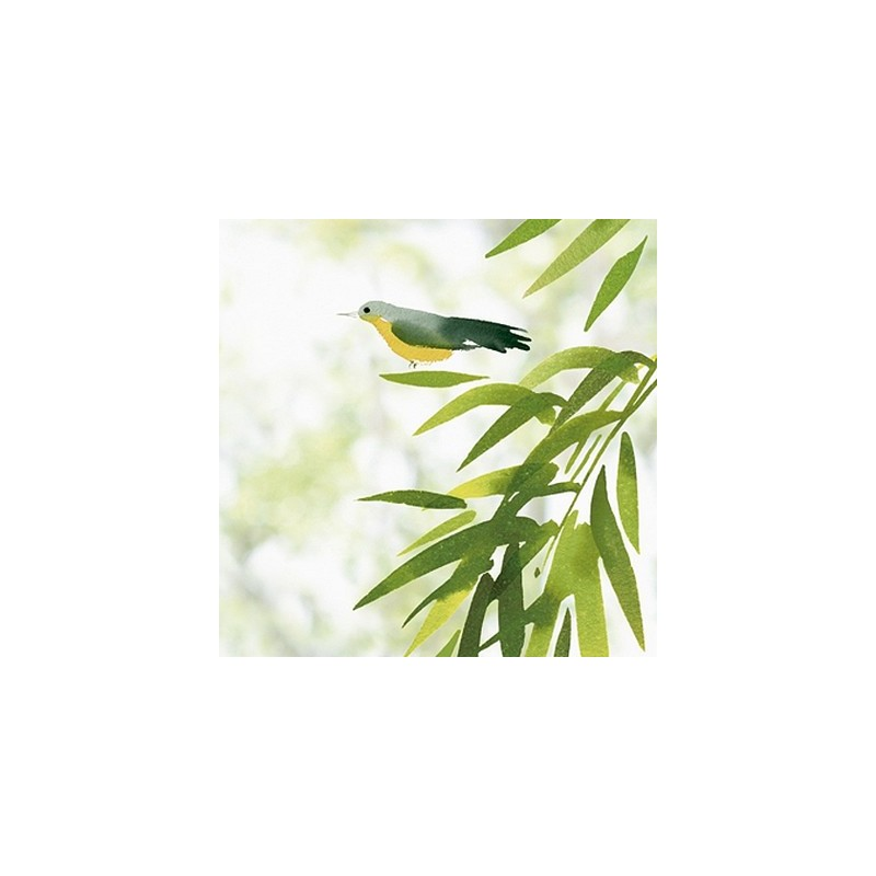 Adhésif repositionnable feuillages et oiseau