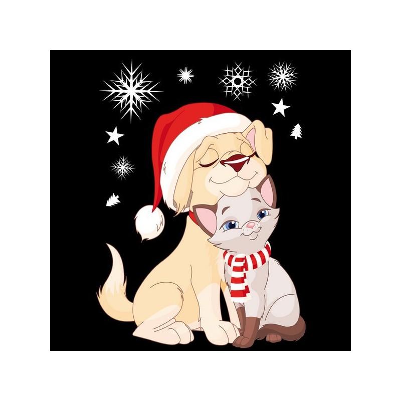 Sticker Chien et chat de Noël