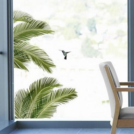 Stickers électrostatiques, palmes et oiseau