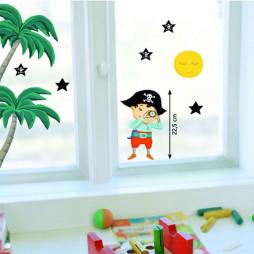 Autocollant électrostatique Pirates observant les étoiles